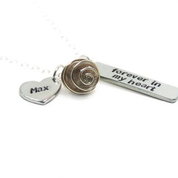 Forever in my heart memorial necklace with cremation bead and name charm