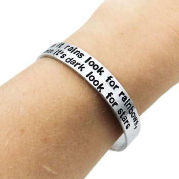 Custom memorial quote or bible verse cuff bracelet