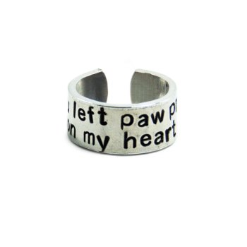 You left paw prints on my heart ring, 9.5mm width