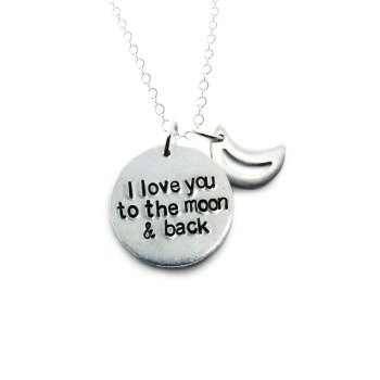 I love you to the moon and back necklace with moon charm