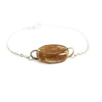 Pet fur memorial sterling silver bracelet