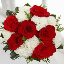 white carnations with red carnations