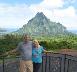Wade and Sara Belvedere Overlooking Mt. Rotui, Opunohu Bay and Cook's Bay Lookout
