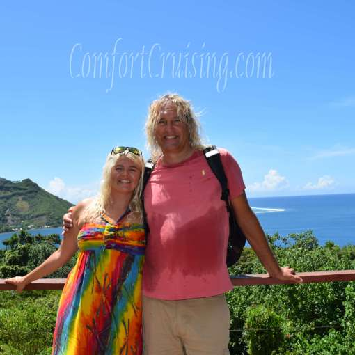 Wade and Sara View From Moorea Tropical Overlooking Opunohu Bay and Tareu Pass