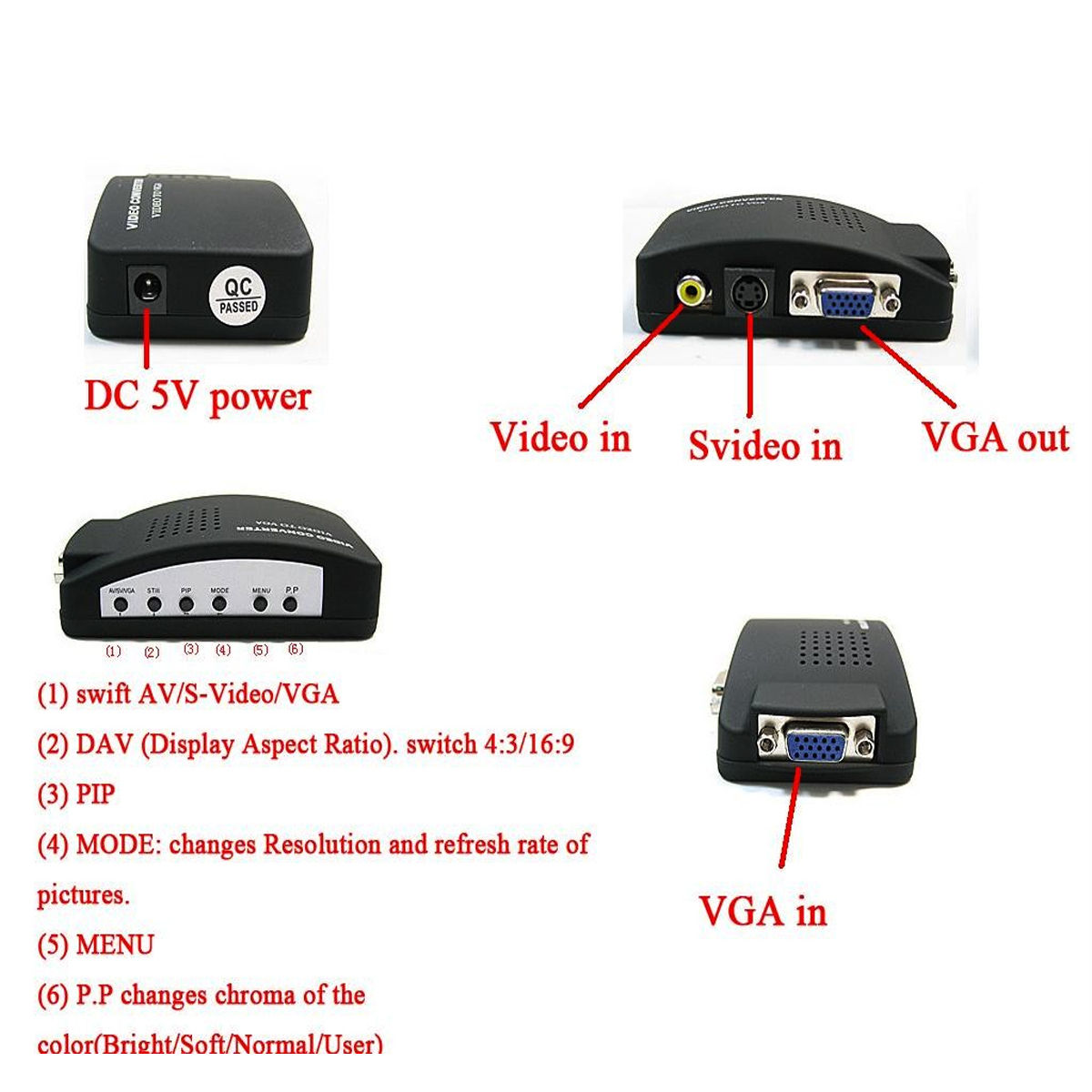 hight resolution of video svideo tv av rca to pc vga signal adapter converter video switch box