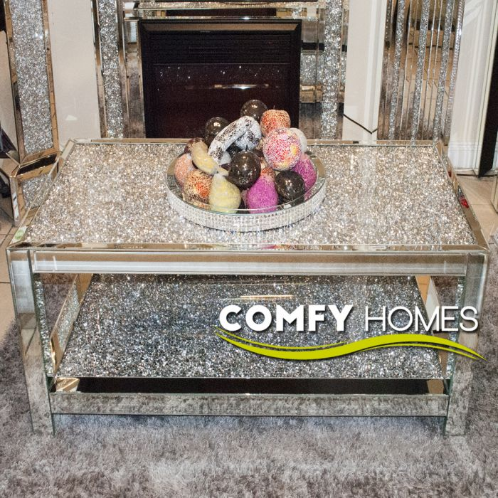 mirrored crushed crystal 2 tier coffee table milano