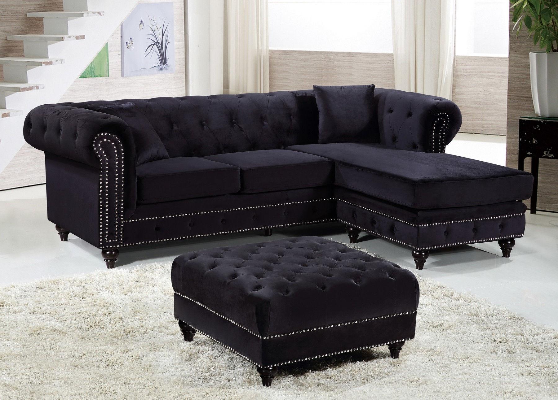 sabrina black sectional sofa ottoman