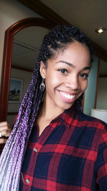 Grey And Purple Ombre Box Braids Comfy Girl With Curls