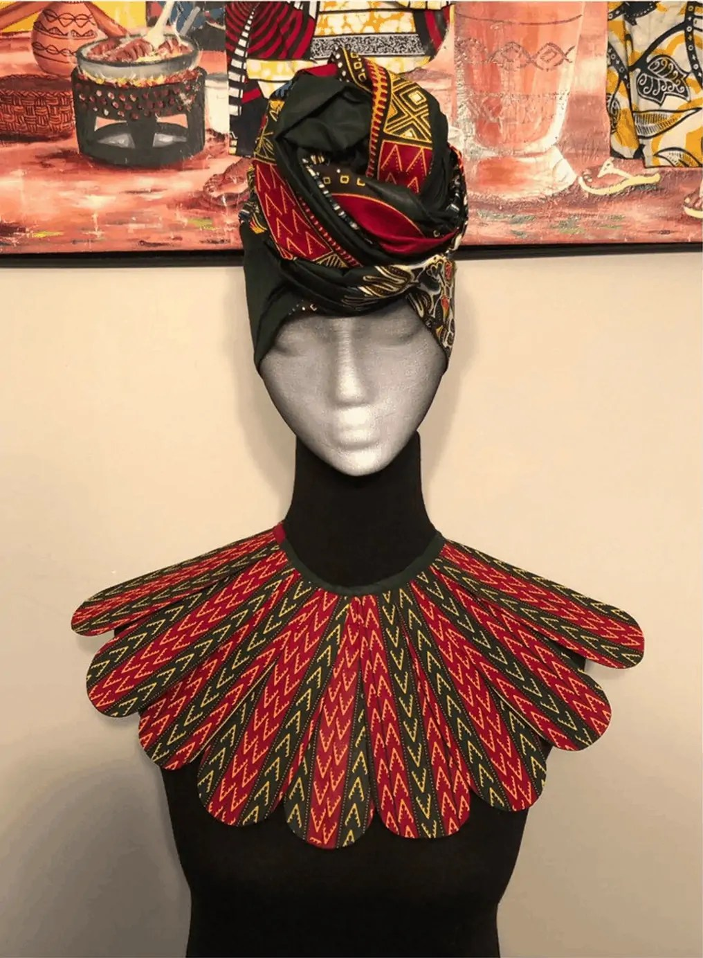 TheclaCreations | African Print Scarf and Breastplate Necklace