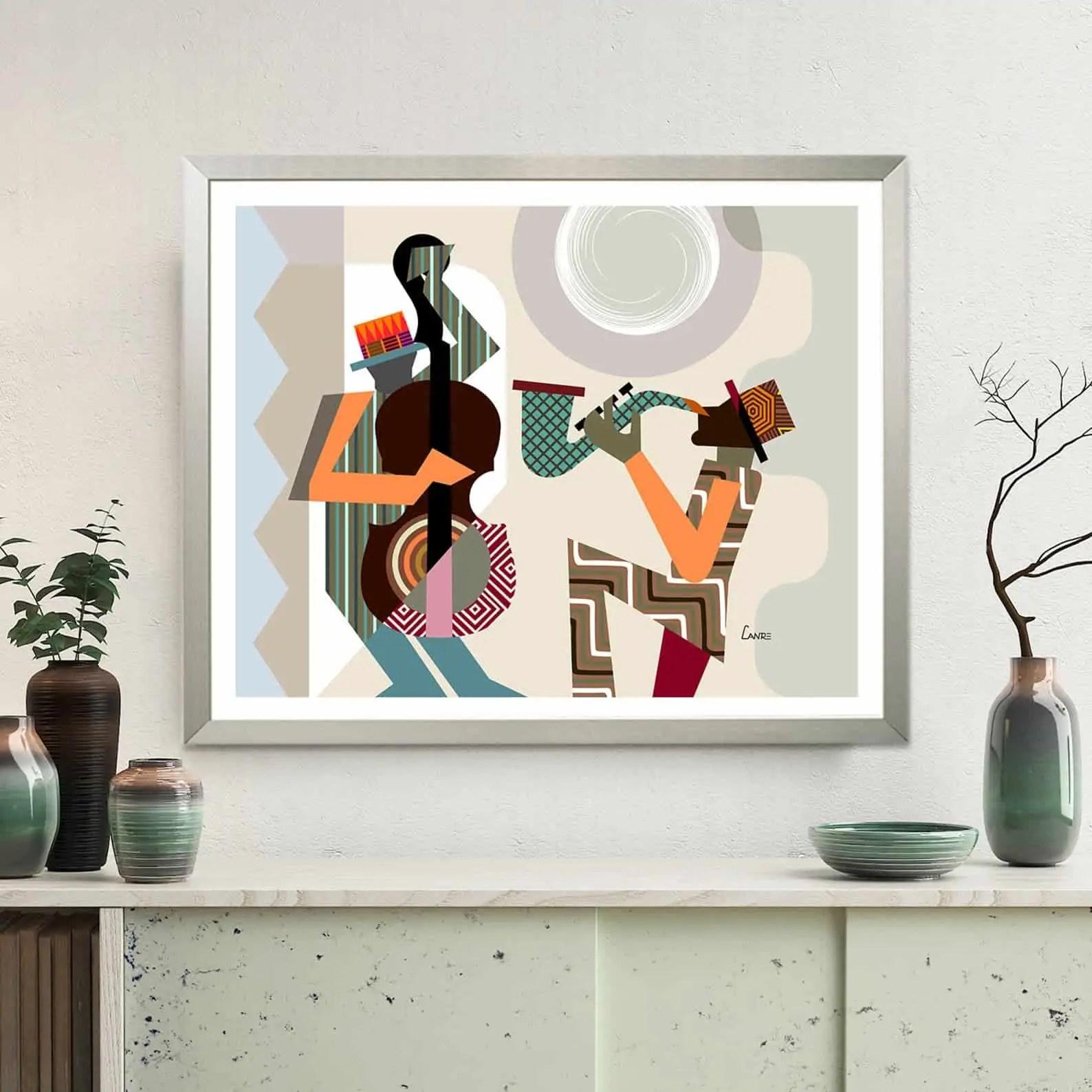 Jazz Festival Orleans Music Poster, Saxophone Violin Wall Art | LanreStudio