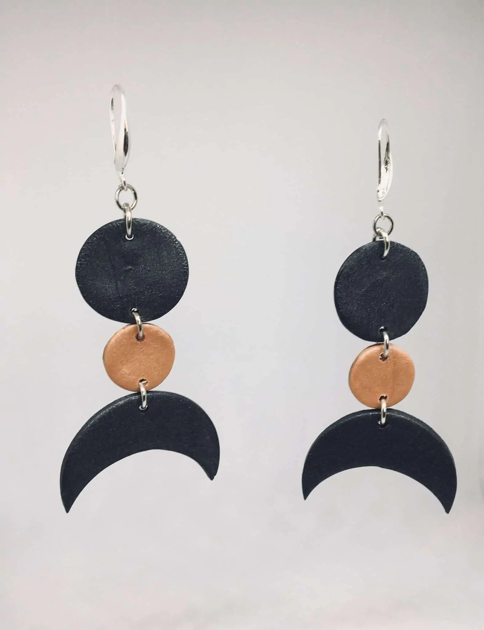 KhokhoDesigns Clay Gold and Black hanging earrings | Black Etsy