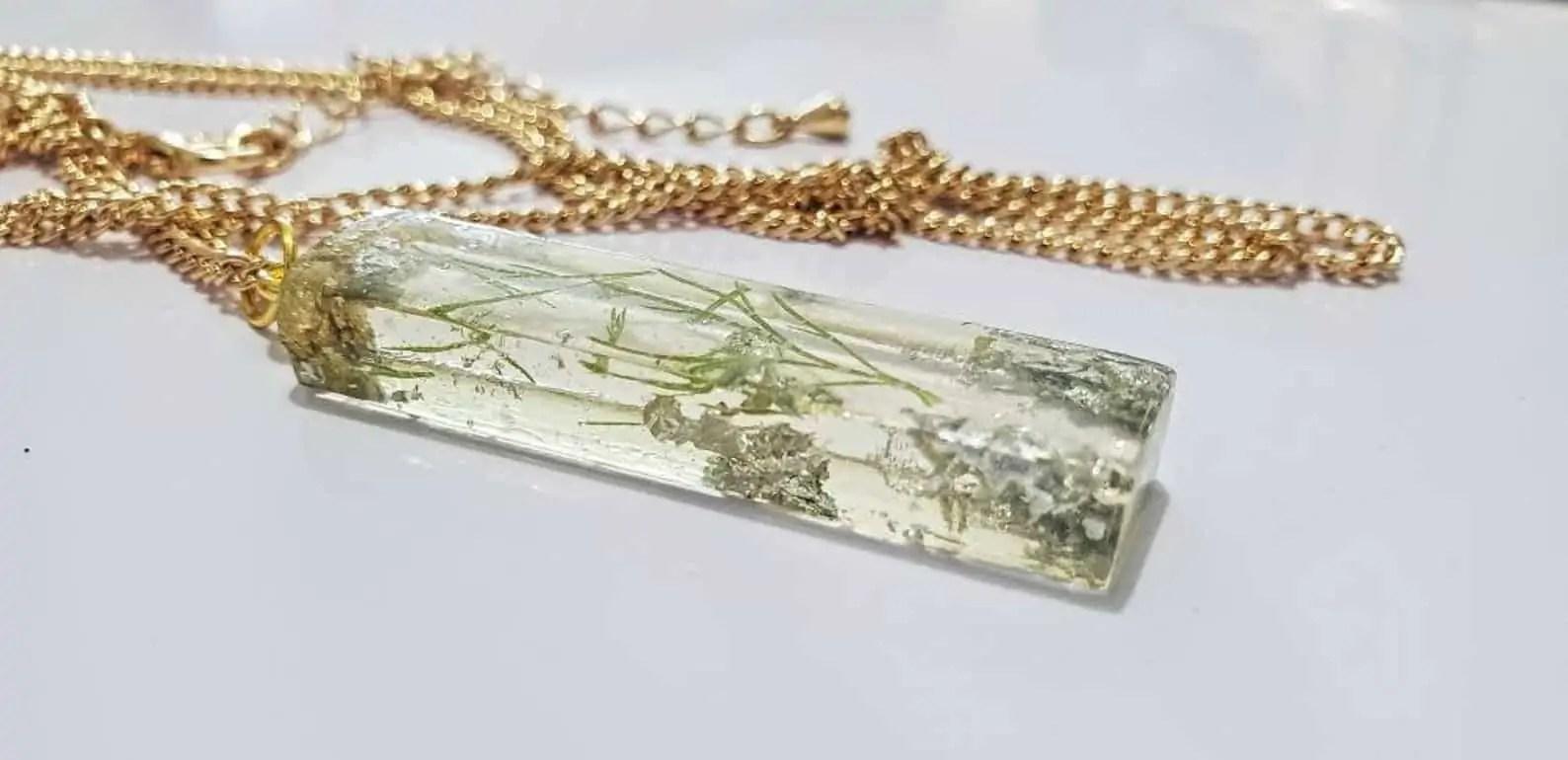 BounceBackJewelry | COLVIN: 3D Rectangle Resin Necklace Pendant | Black Etsy Seller from Canada