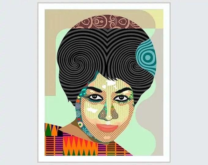 , Aretha Franklin Art, Queen Of Soul Celebrity Poster | LanreStudio | Black Artist