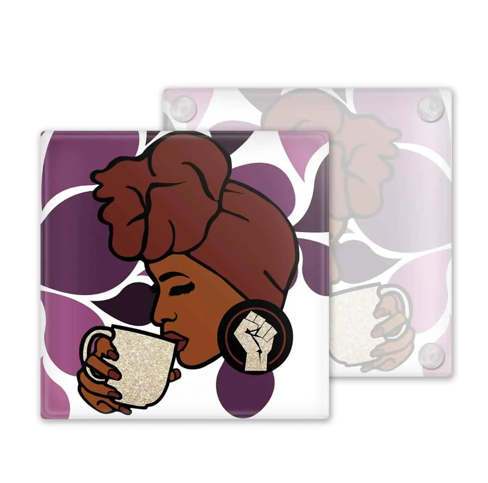 M&K Creative Designs Black Owned Canadian Etsy Shop | Afrocentric Products Black Woman Wearing Headwrap Coasters