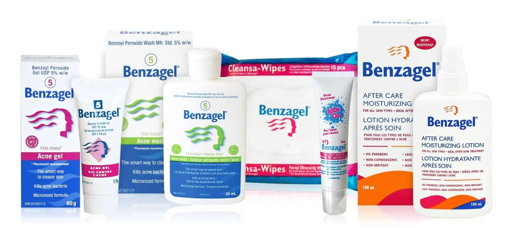 Benzagel Canada Product line up: Acne Gel (5% Benzoyl Peroxide), Acne Wash (5% Benzoyl Peroxide), Spot On (2.5% Benzoyl Peroxide), Aftercare Moisturizer, and Clensa-wipes. Help Fight Pimples before period.