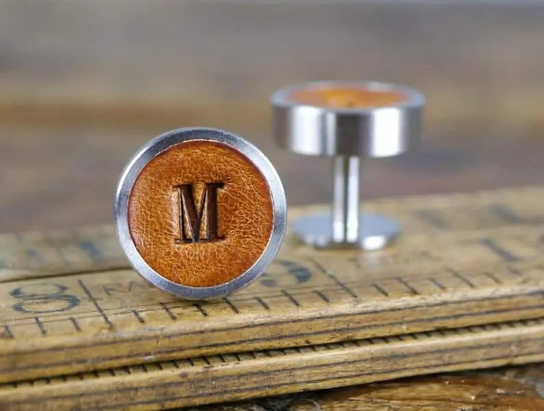 Custom Leather Cufflinks, perfect gift for Him