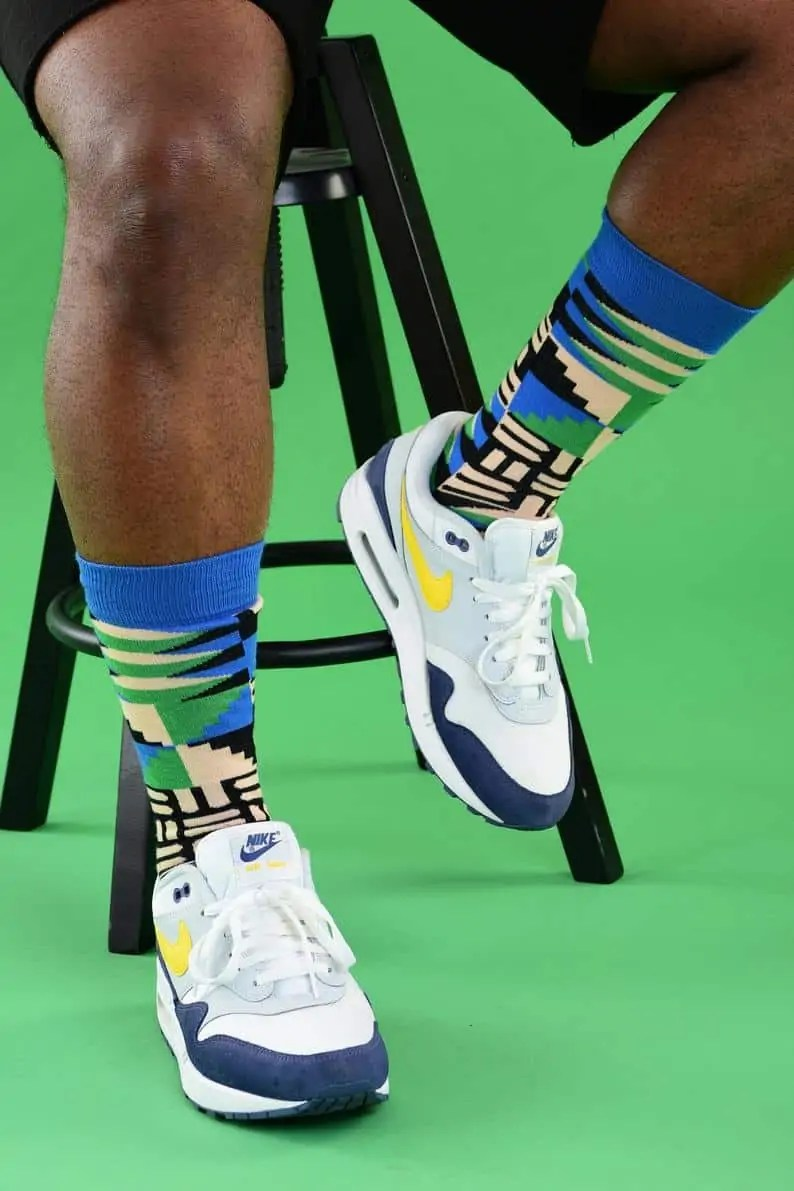 Afrocentric Black-owned Etsy Gifts for Men   Afro Pop Socks   Blue Print