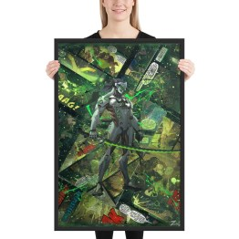 Genji – Overwatch Comic Canvas Framed Reproduction Print