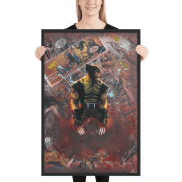 Wolverine Comic Canvas Framed Reproduction Print