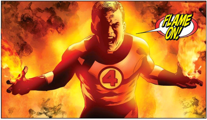 Human torch flame on