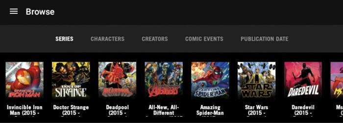 Marvel Unlimited app