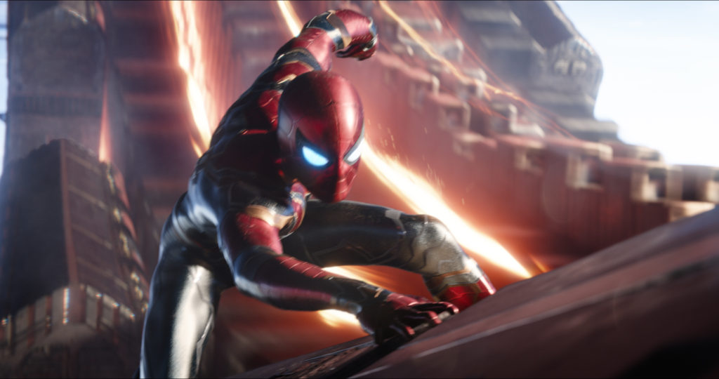 the Iron Spider costume in Infinity War movie