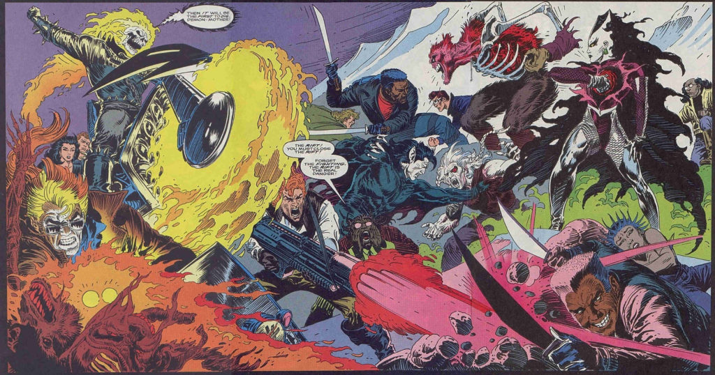 Blade fights alongside the Midnight Sons in 90's Marvel Comics