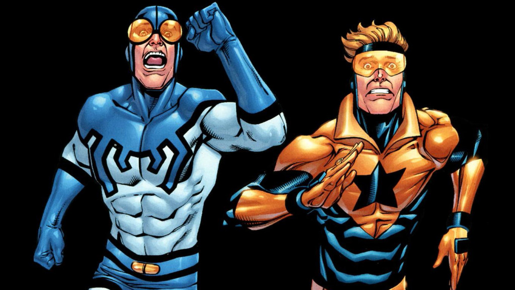 booster gold and blue beetle running
