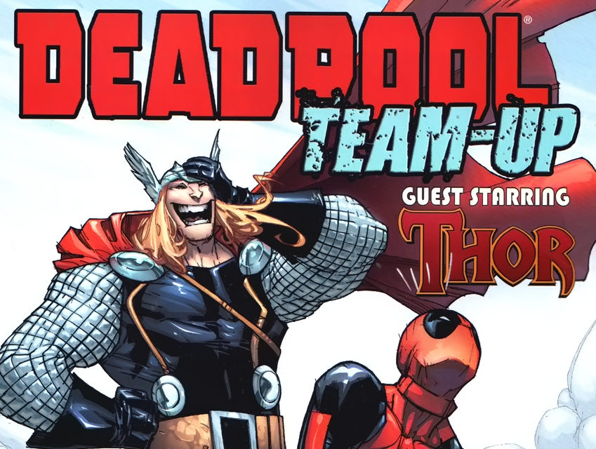 Deadpool tries to lift Mjolnir in front of Thor