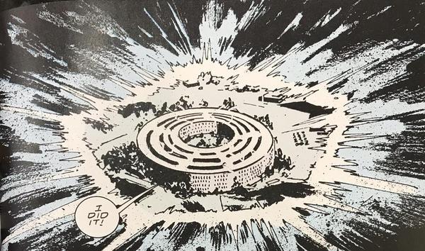 Doom Patrol em quadrinhos onde Flex Mentallo transforma o Pentágono em um círculo