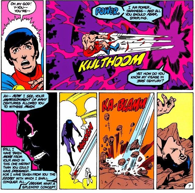 Darkseid vs Mon El in the Legion of Super-Heroes Great Darkness Saga