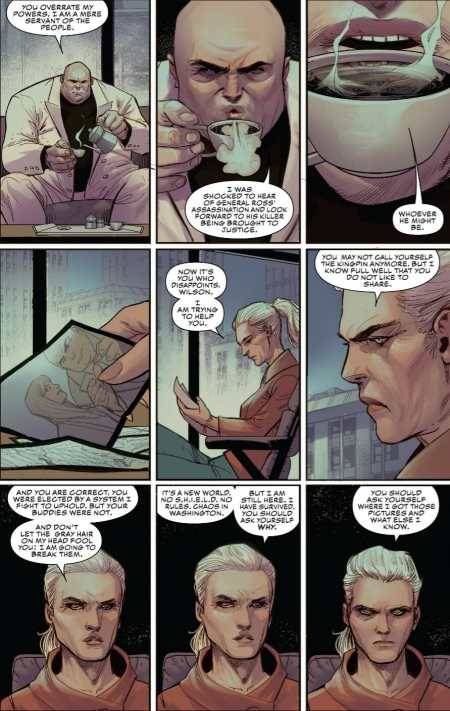 Captain America #8 Sharon Carter Confronts Mayor Wilson Fisk