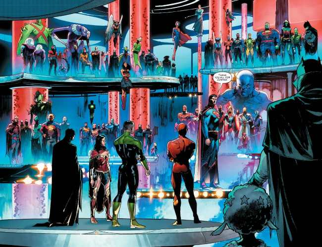 Justice League #26 Multiverse Heroes Assemble Moment