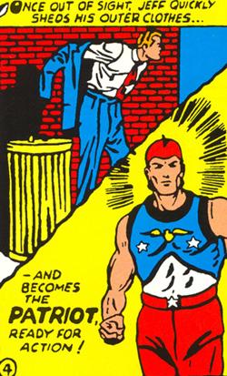 La nouvelle comportant peu de dessins, voici une scène tiré du premier épisode dessiné du Patriot. Mais là les dessins de sont plus de Bill Everett mais de George Mandel.