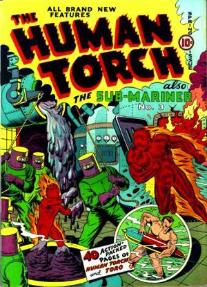 La couverture d'Human Torch Comics ne fait pas mention de la première apparition du Patriot à l'intérieur...