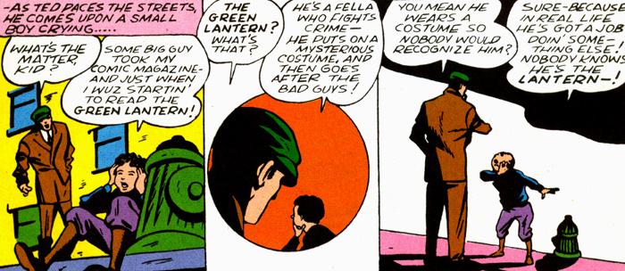 Ted Grant s'inspire du comic-book de Green Lantern. Un passage curieux...
