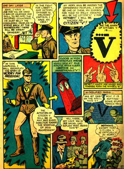 John Watkins devient Citizen V, à la fois héros et outil de propagande pour l'armée anglaise...