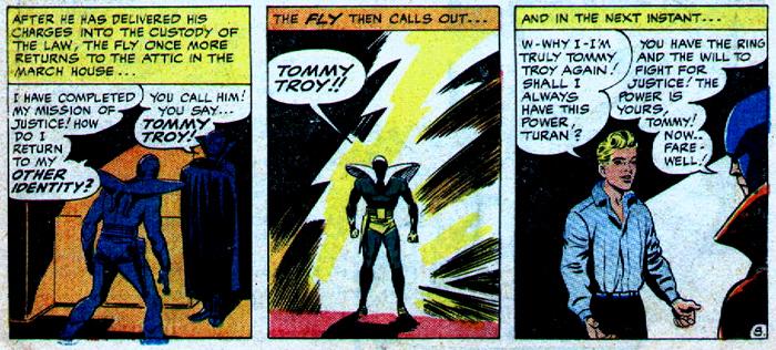 La transformation en marche-arrière, pour redevenir humain, ressemble énormément à celle du Captain Marvel...