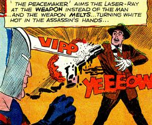 Le rayon-laser émis par le casque du Peacemaker...