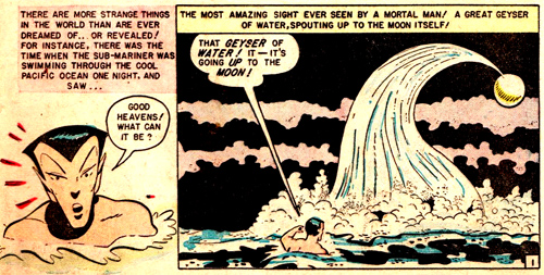 La colonne d'eau qui a enlevé Namor de la Terre vers la Lune...