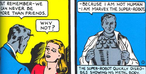 Comme cette cruche de Clara ne comprend pas qu'il est un robot, malgré son visage, Marvex se déshabille de façon assez... incohérente ?