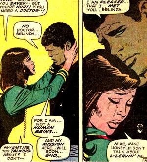 Belinda se jette au cou du robot... qui oppose, lui, qu'il n'est pas humain...