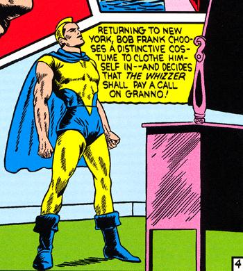 Le Whizzer dans son premier costume de super-h�ros...