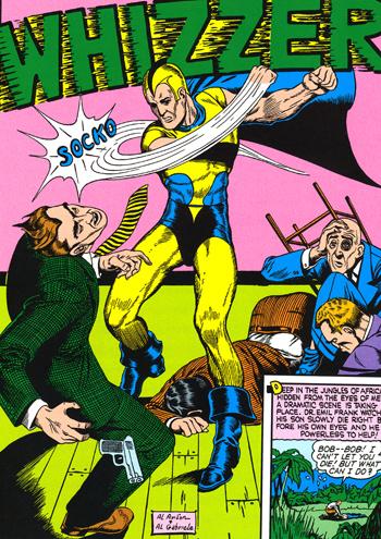 """La premi�re page des aventures du Whizzer. Quand � savoir la signification du bruitage """"Socko!"""" que fait le poing du h�ros..."""