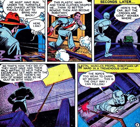 Robotman saute vers l'action...