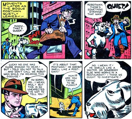 """Robbie """"en civil"""" déguisé en vrai chien dans des épisodes plus tardifs..."""