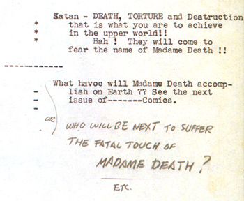 La fin d'origine de Madame Death faisait d'elle une menace pour les humains...