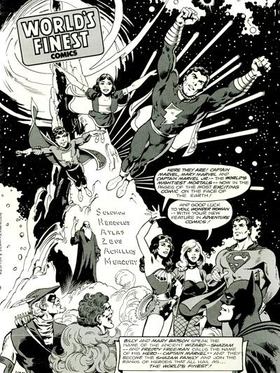 L'arrivée de Captain Marvel et ses amis dans World's Finest...