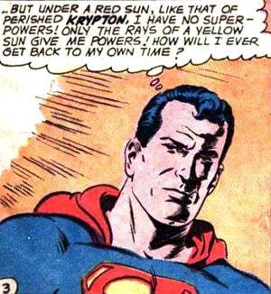 Superman réalise que sous le soleil rouge il devient... normal !