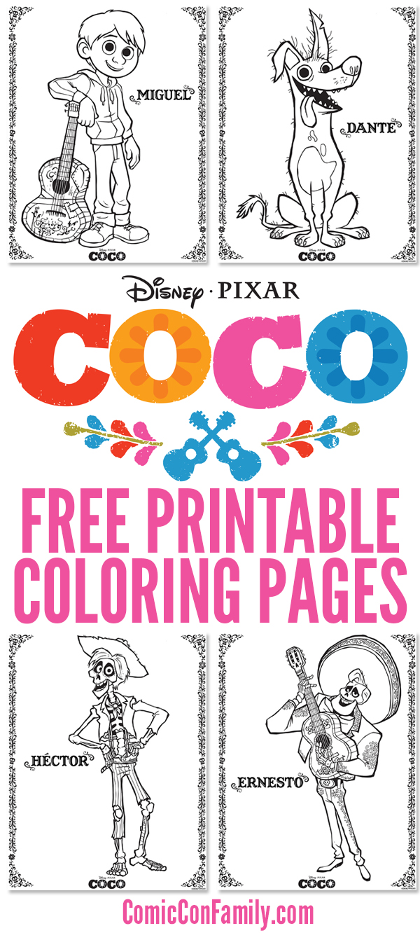 Free Printables Disney Pixar Coco Coloring Pages Comic Con Family